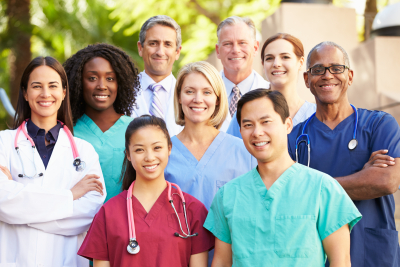 outdoor portrait of medical team